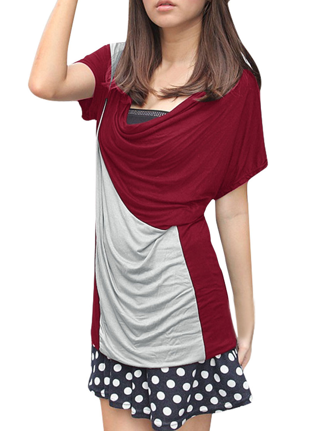 Women Cowl Neck Batwing Sleeves Contrast Color Top Red S