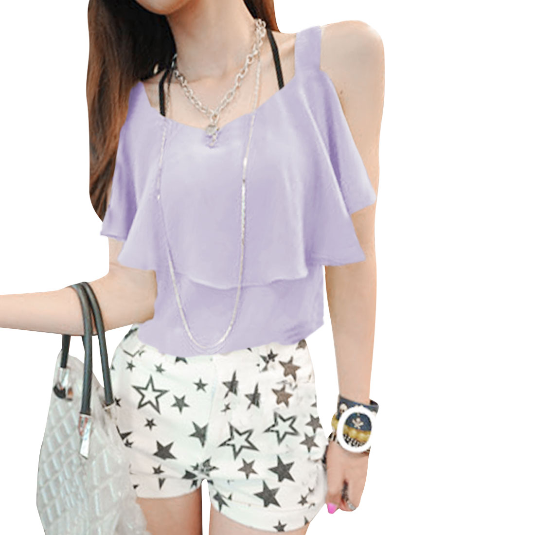 Lady Summer Soft Semi-sheer Flouncing Lavender Chiffon Top XS