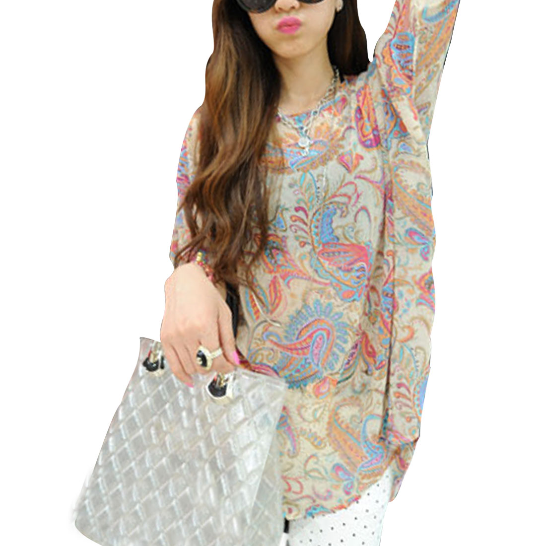 Women Round Neck Paisleys Prints Batwing Sleeve Shirt Multicolor L