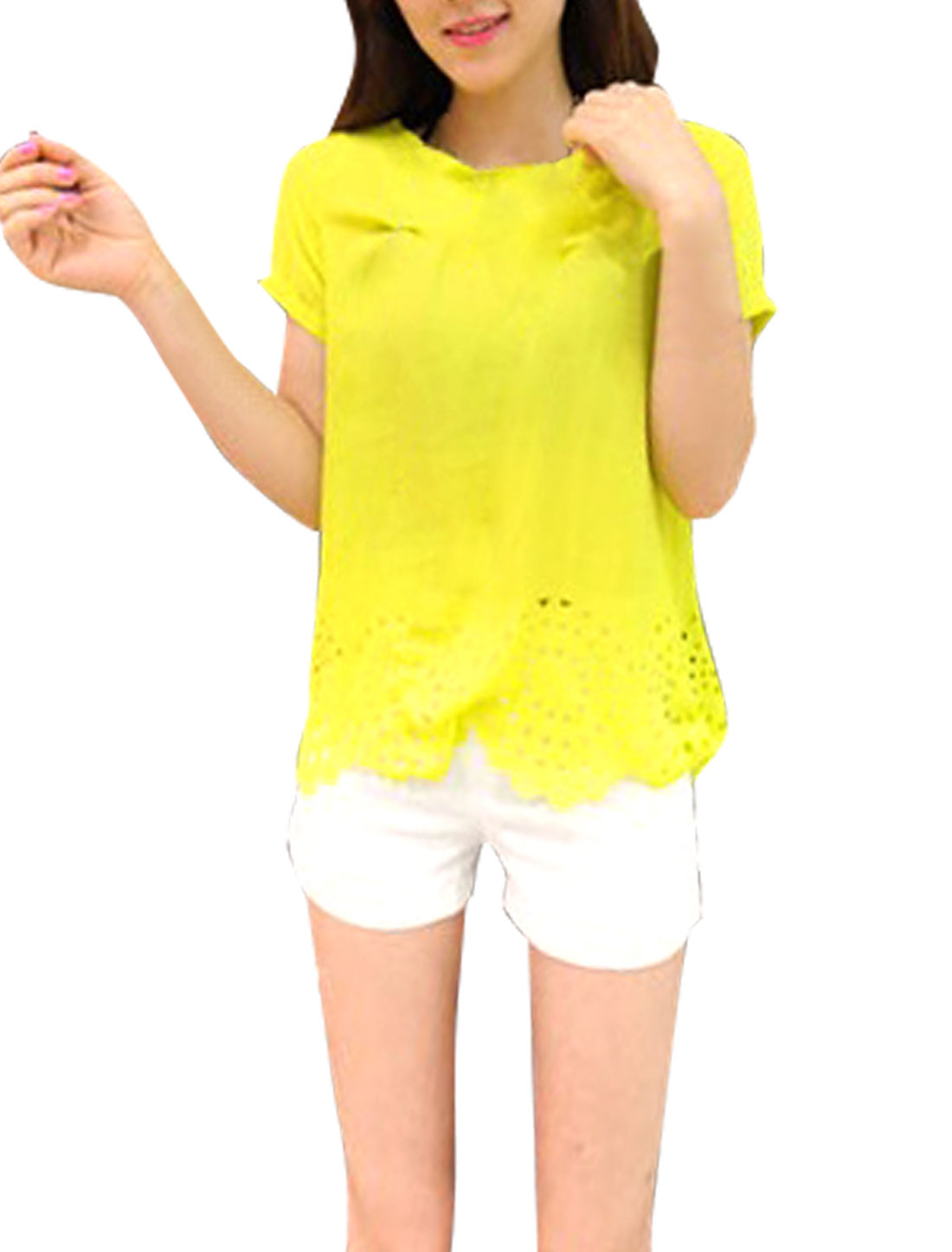 Ladies Newly Short Sleeve Cutout Design Pure Yellow Chiffon Blouse XS
