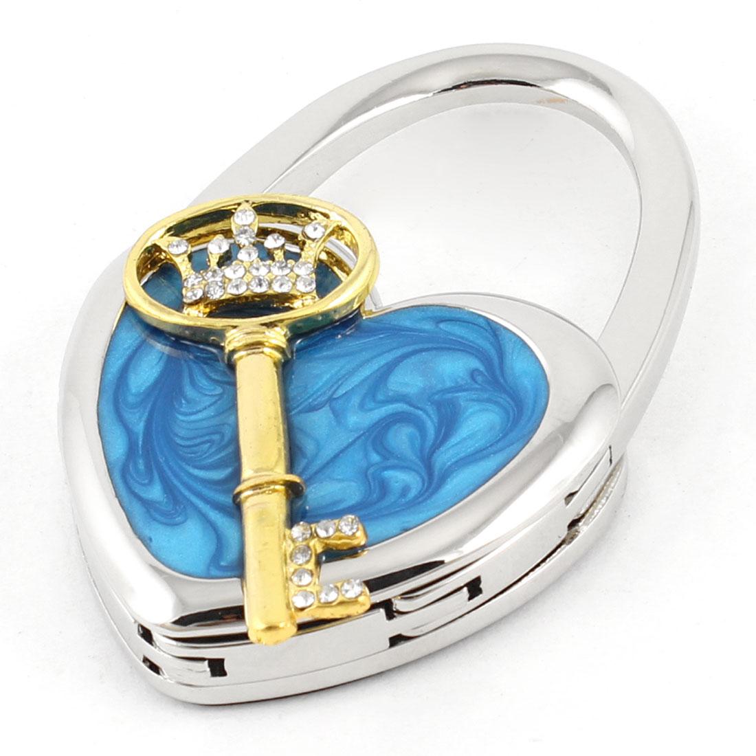 Rhinestone Key Heart Shape Handbag Foldup Table Hook Hanger Blue Silver Tone