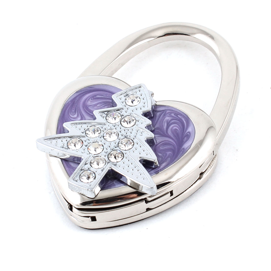 Purple Silver Tone Rhinestones Tree Heart Designed Handbag Foldable Table Hook