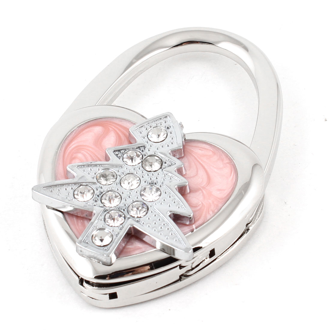 Pink Silver Tone Rhinestone Inlaid Tree Heart Shape Foldup Handbag Hook Hanger