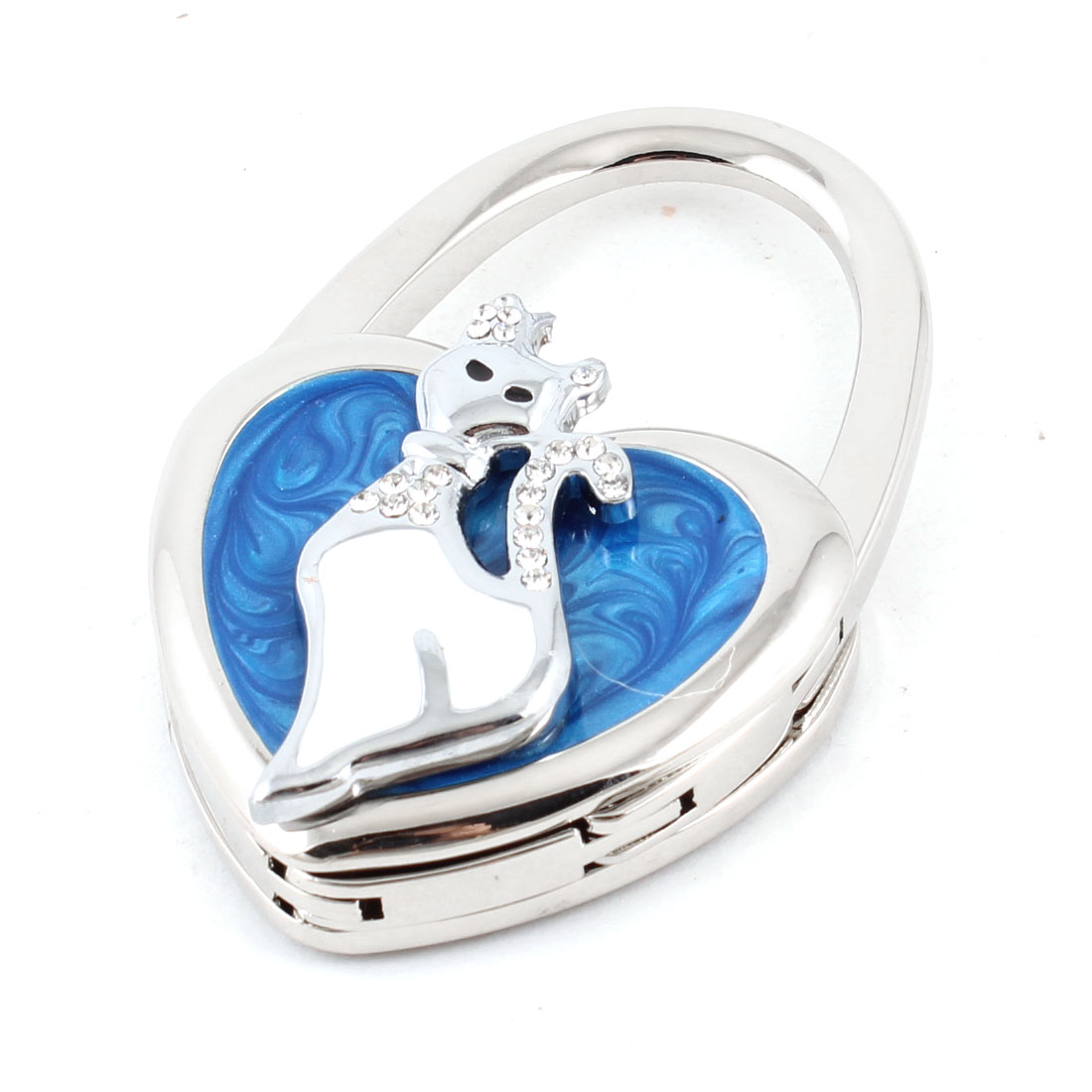 Clear Rhinestones Inlaid White Fox Blue Heart Shaped Folding Handbag Desk Hook