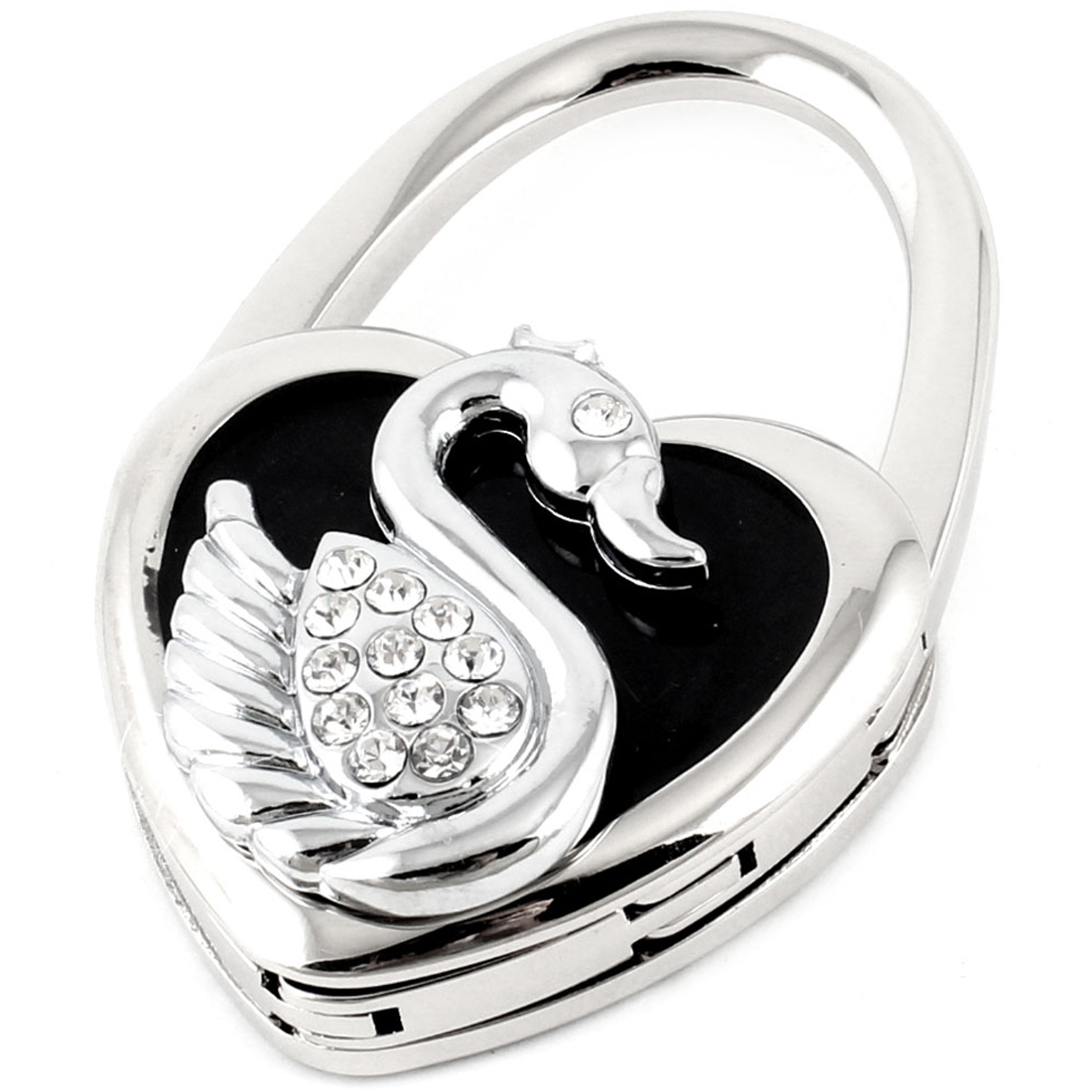 Rhinestones Goose Heart Design Handbag Foldable Table Hook Black Silver Tone