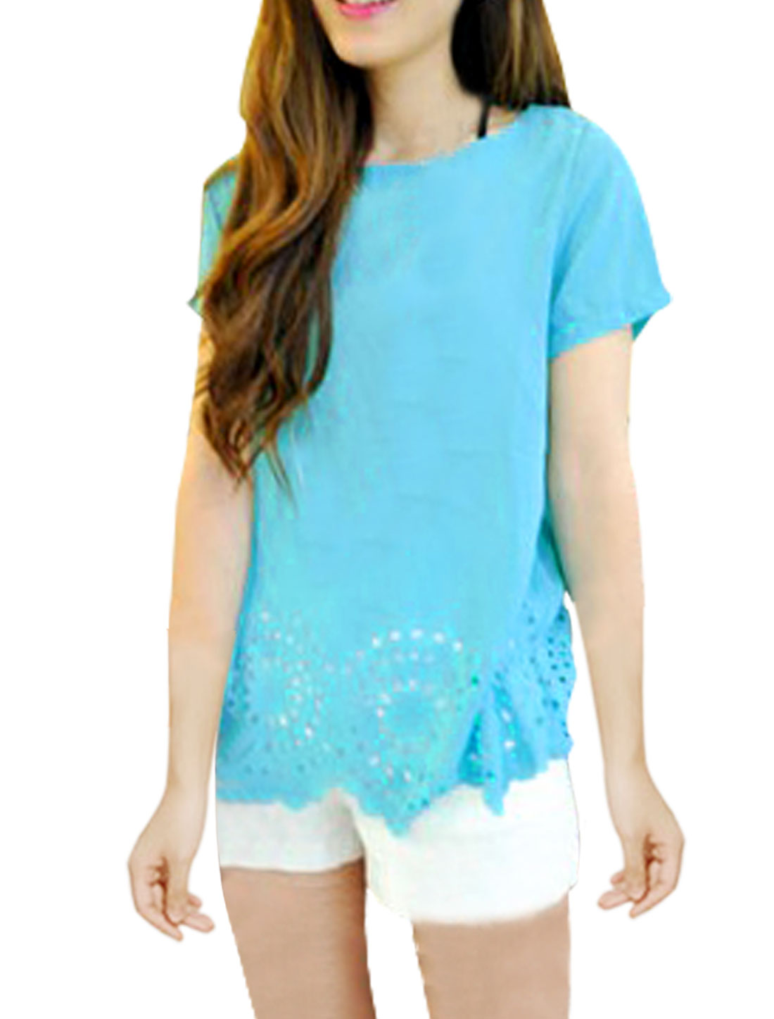 Woman Round Neck Short Sleeve Wavy Hem Design Sky Blue Chiffon Blouse XS