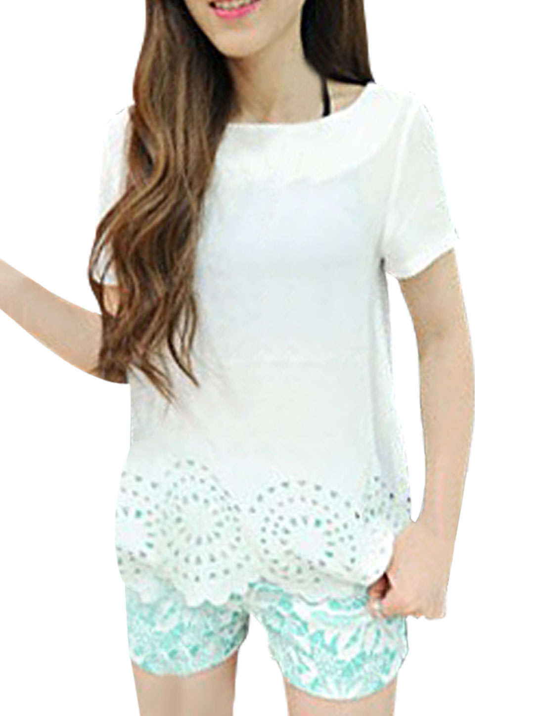 Lady New Fashion Round Neck Short Sleeve Wavy Hem Design White Blouse XS