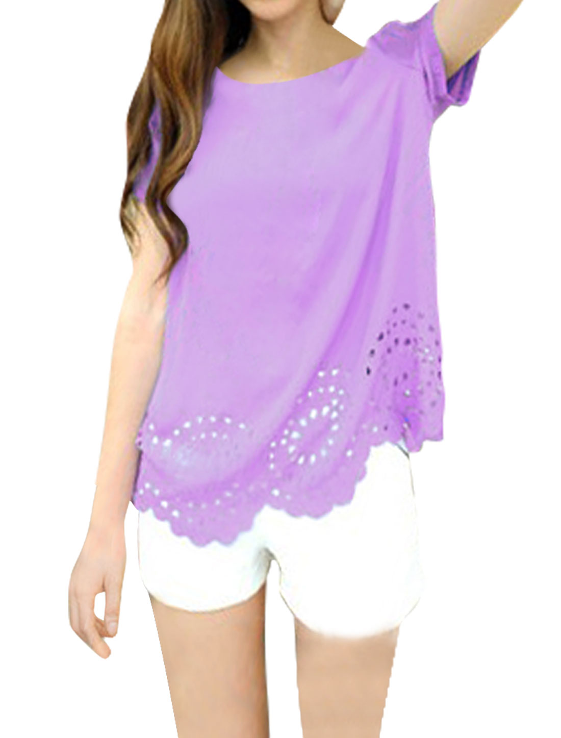 Women Chic Round Neck Short Sleeve Hollow Out Design Lavender Blouse XS