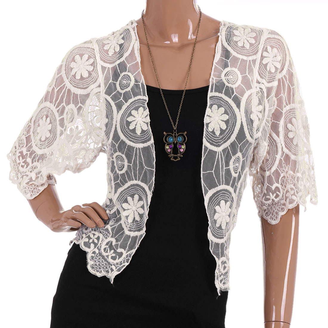 Women Half Sleeve Scalloped Hem Semi Sheer Crochet Shrug Off White Xs