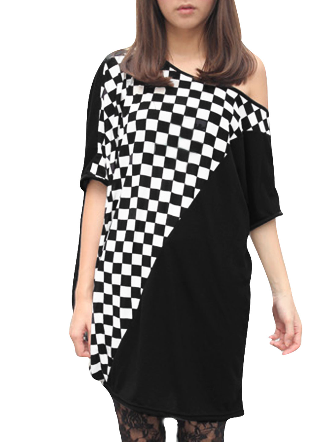 Women Round Neck Batwing Sleeve Plaids Prints Casual Tunic Shirt Black L
