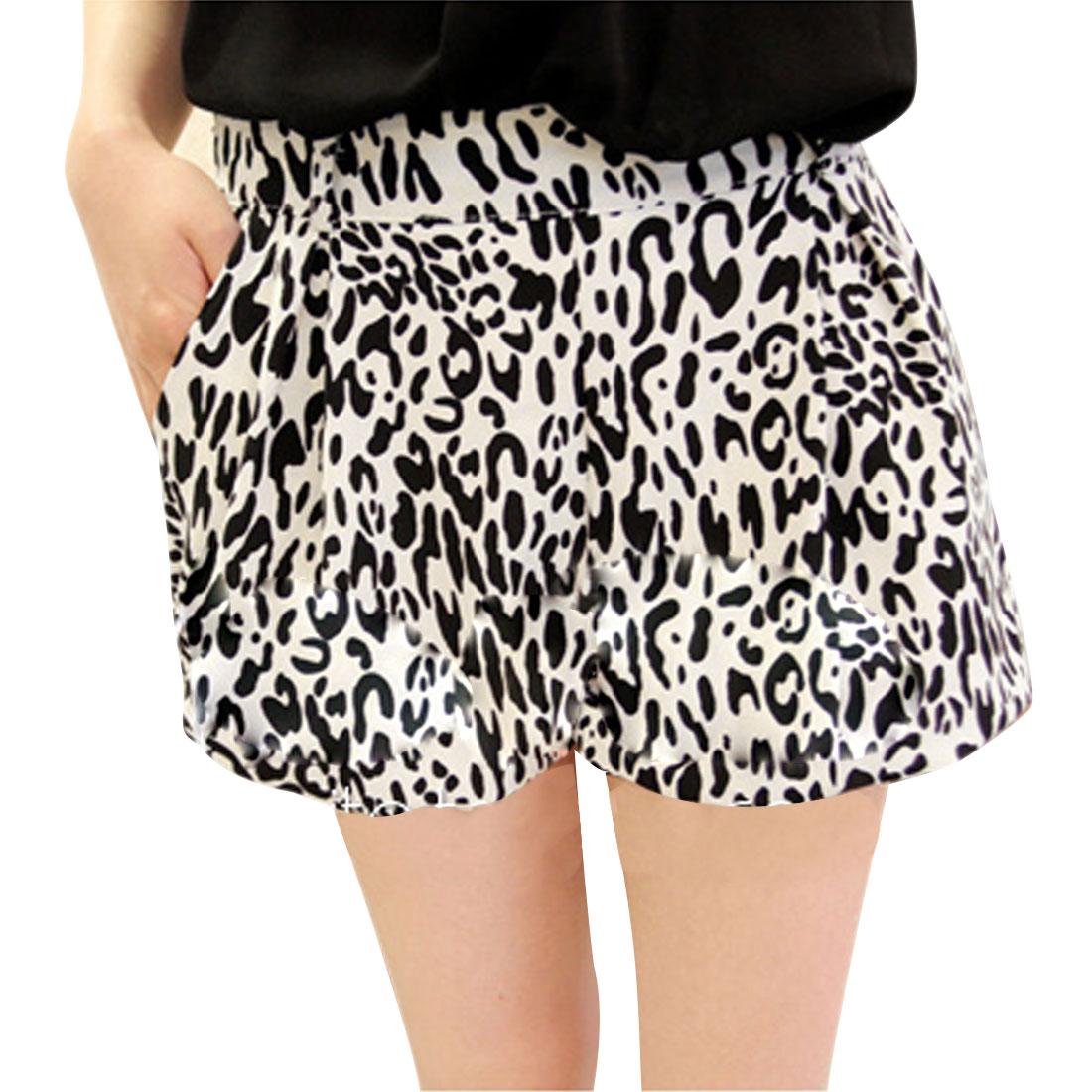 Women White Black S Leopard Pattern Belt Loop Design Summer Shorts
