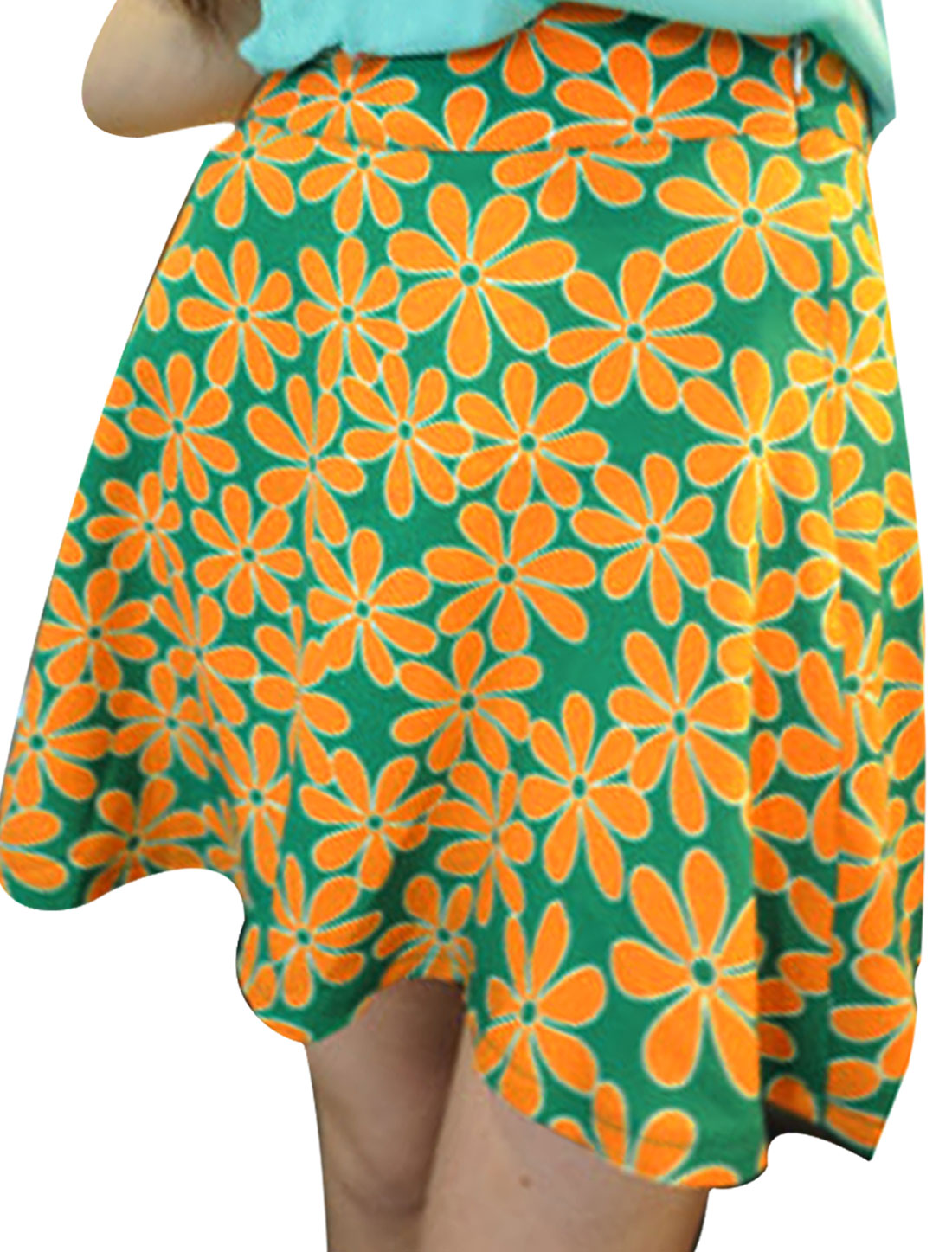 Women Orange S Floral Prints Consealed Zipper Back Round Hem Skirt