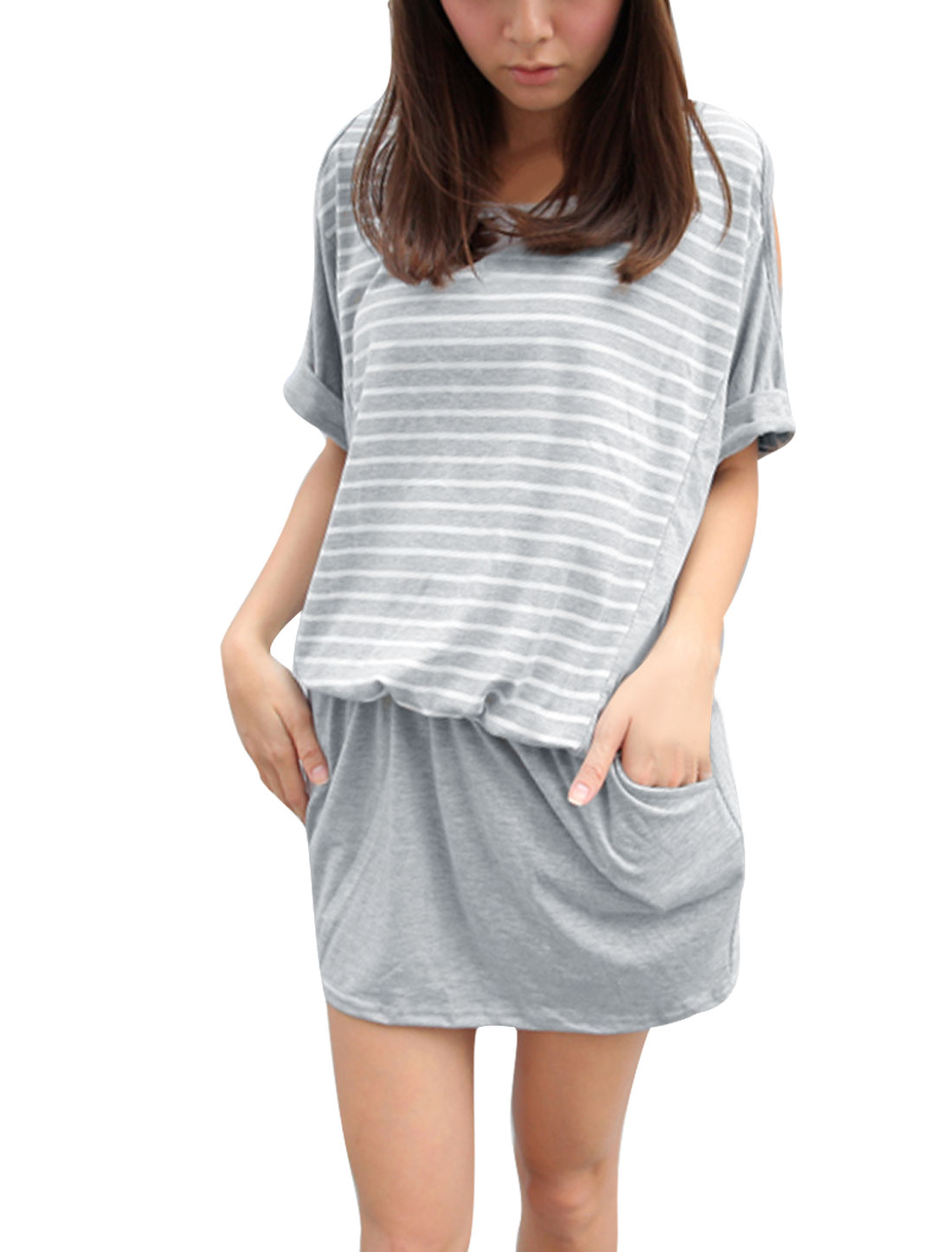 Women Round Neck Stripes Pattern Dolman Sleeve Two Pockets Dress Light Grey M