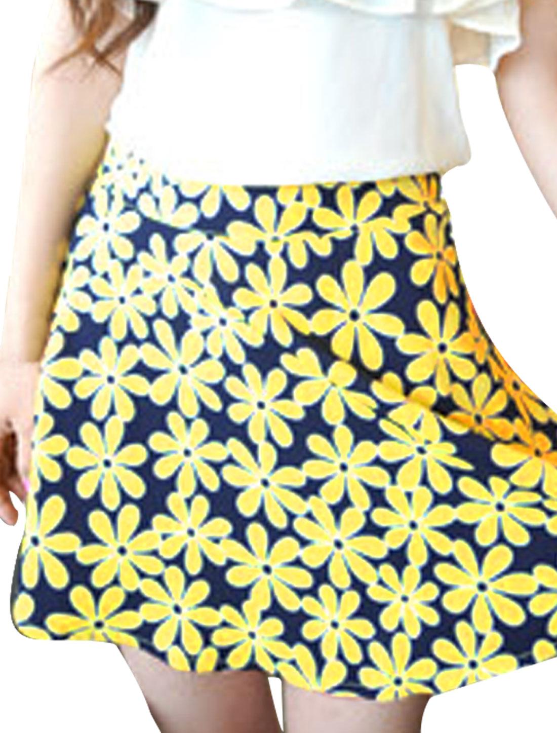 Women Round Hem Hidden Zipper Back Floral Pattern Skirt Yellow S