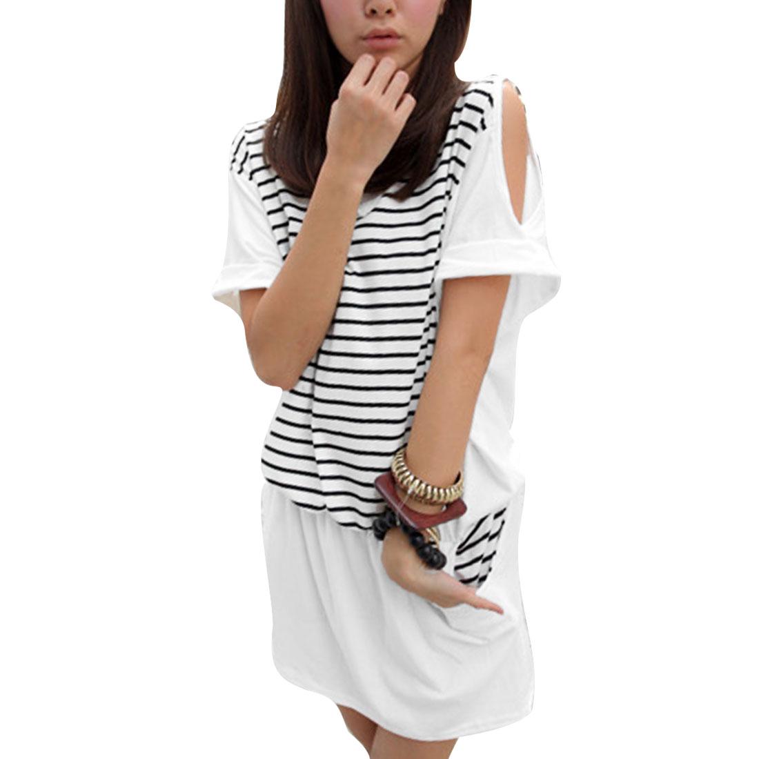 Ladies Cut Out Shoulder Elastic Waist Design Pullover Summer Dress M White