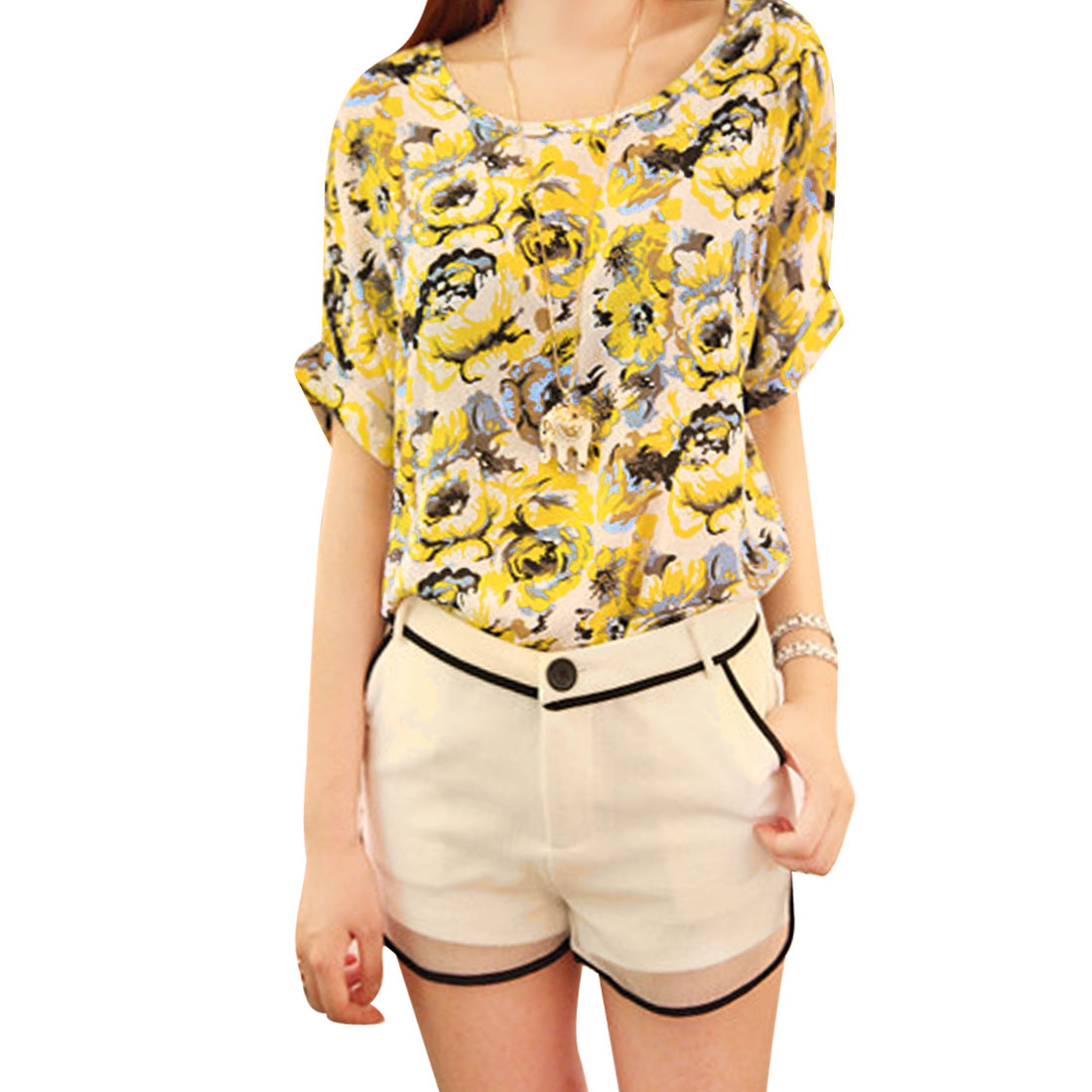 Women Round Neck Round Hem Floral Prints Dolman Sleeve Shirt Yellow M