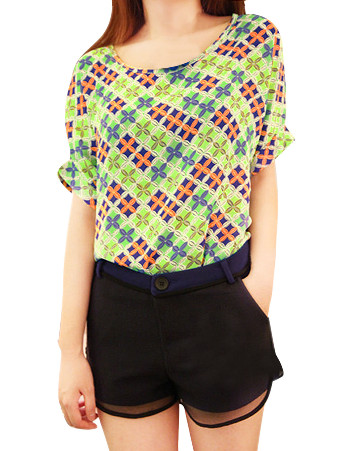 Women Lime M Round Hem Argyle Pattern Dolman Sleeve Leisure Shirt