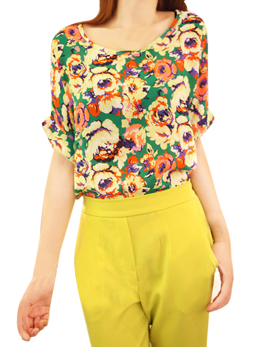Women Floral Pattern Round Neck Dolman Sleeve Shirt Multicolor M