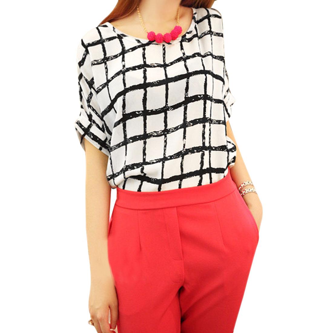 Women Dolman Sleeve Round Neck Plaids Pattern Shirt White M