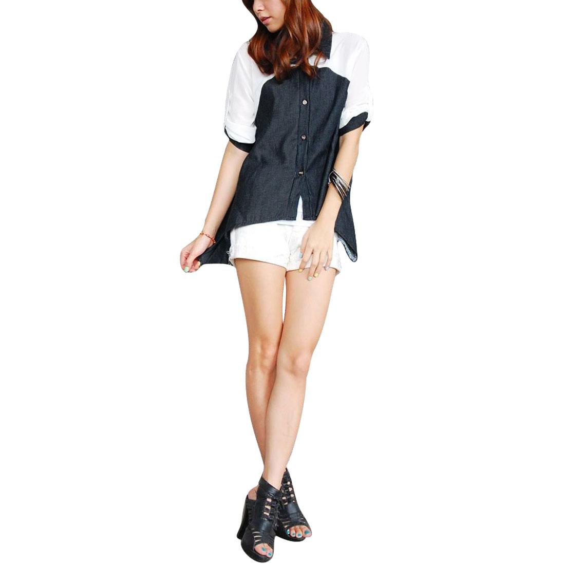 Women Roll Up Sleeve Button-front Point Collar Shirt Dark Grey Xs