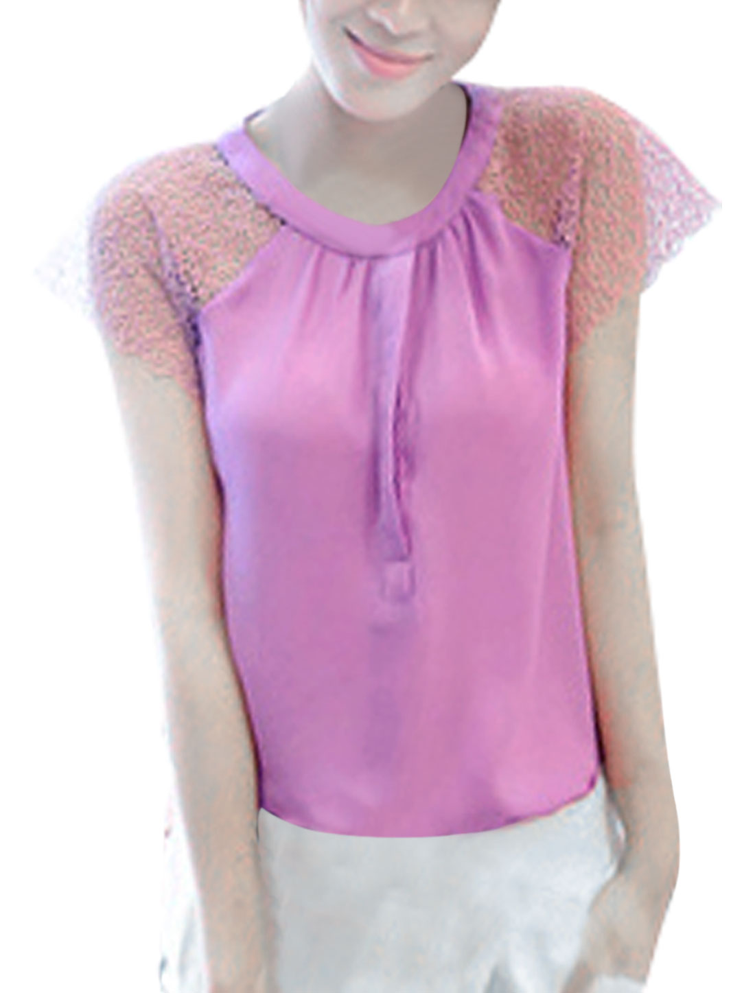 Ladies Round Neck Hollow Out Short Sleeve Top Shirt Lilac XS