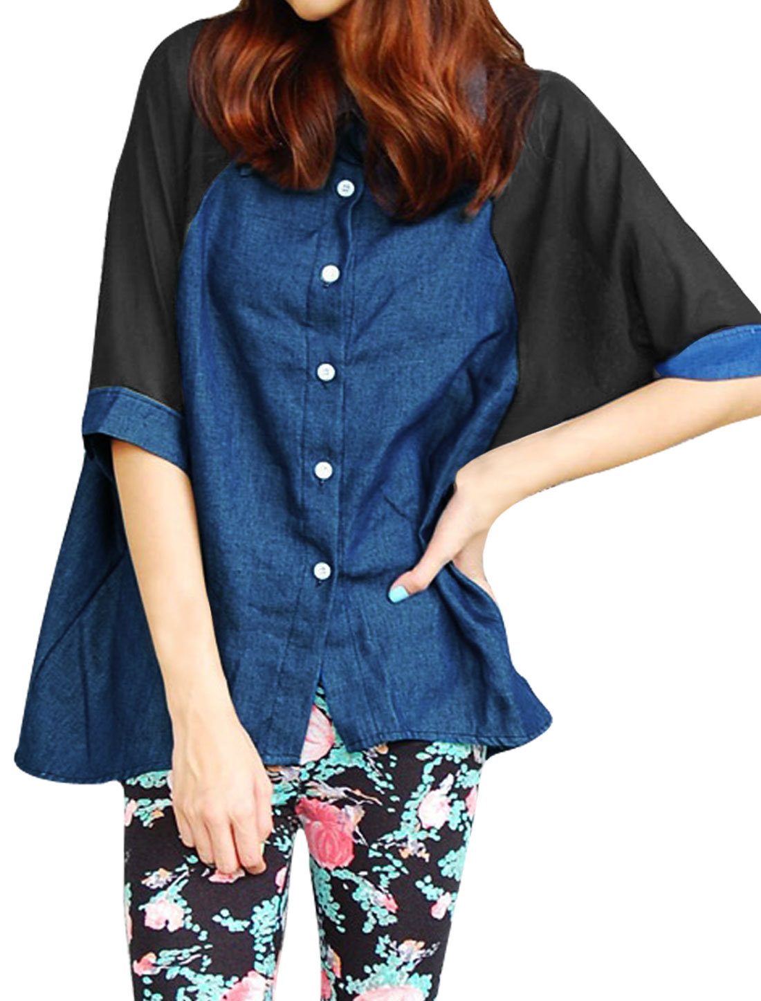 Women Dark Blue L Single Breasted Irregular Hem Point Collar Denim Shirt