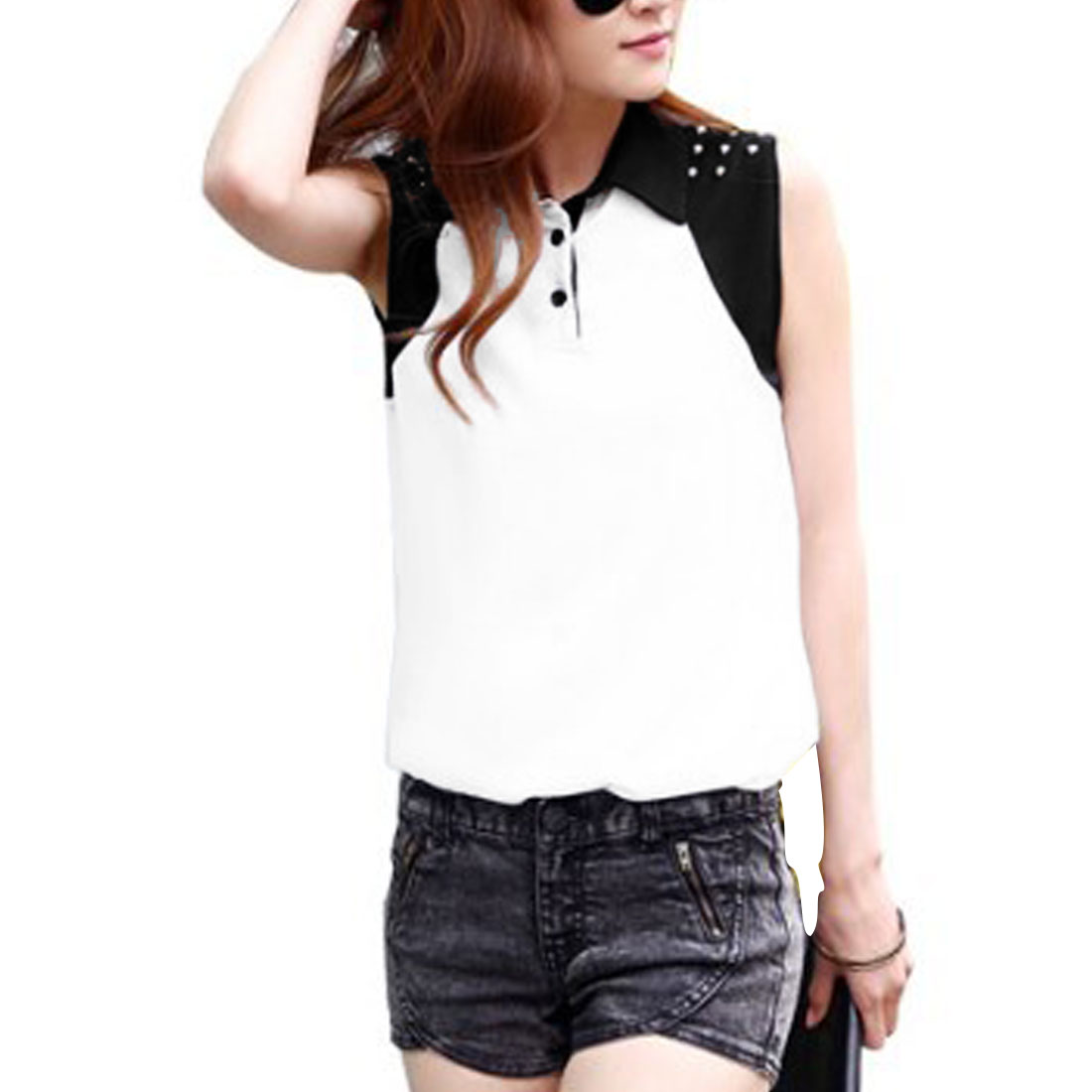 Women Point Collar Button Front Sleeveless Design Casual Blouse White XS