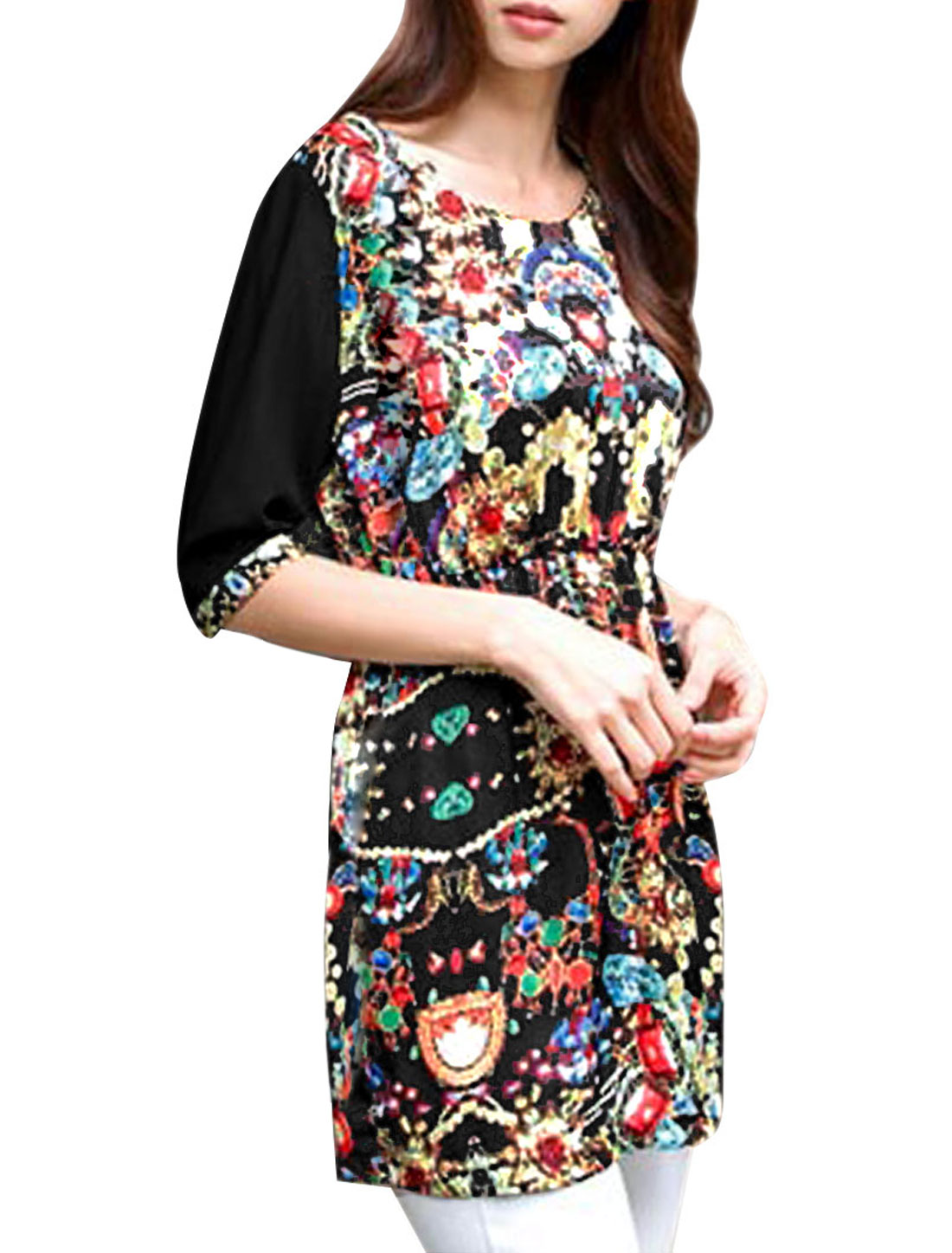 Women Gem Prints Half Sleeve Chiffon Round Neck Tunic Shirt Black Xs