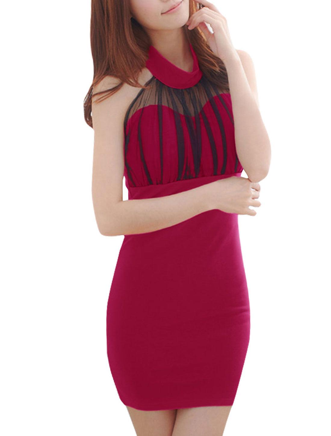 Lady Sleeveless Slim Fit Paded Bust Fuchsia Mini Dress XS