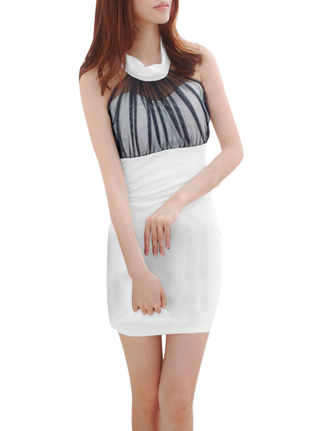 Lady Pullover Fashion Halter Neck Design White Fitted Dress XS