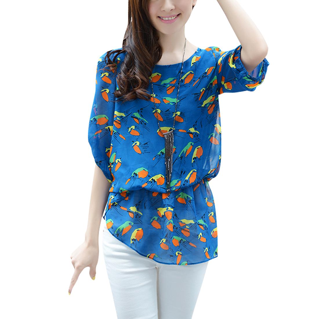 Ladies Birds Prints Round Neck Short-sleeved Chic Shirt Blue S