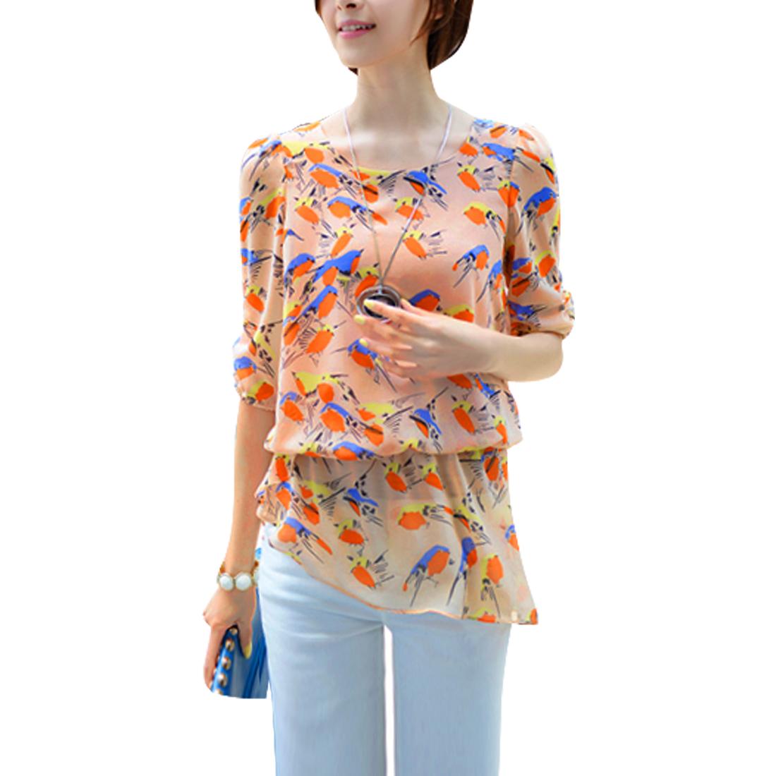 Women Chiffon Birds Prints Elastic Waist Fashional Shirt Apricot S