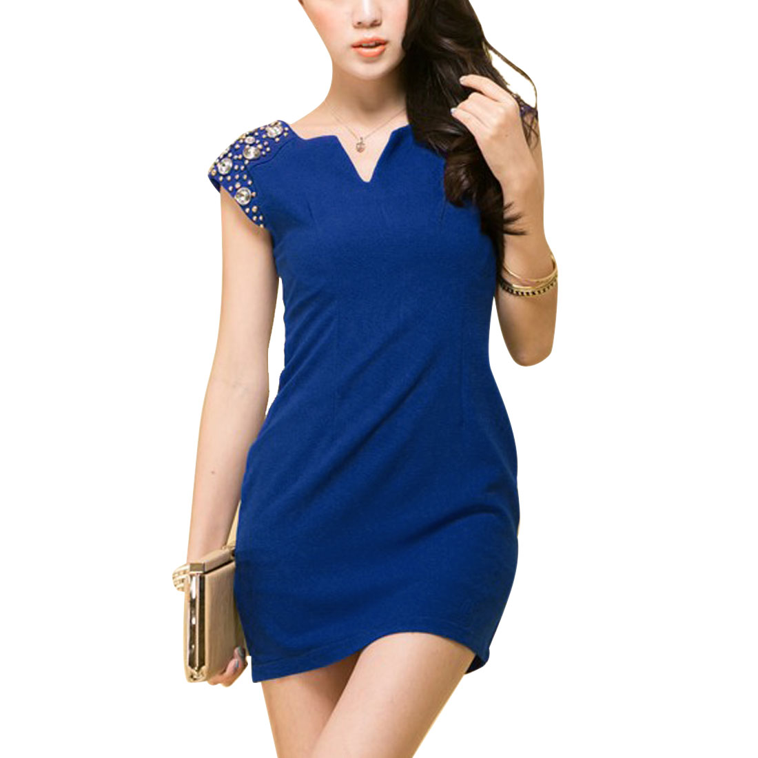 Ladies Split Neck Rhinestones Decor Shoulder Royalblue Mini Dress XS
