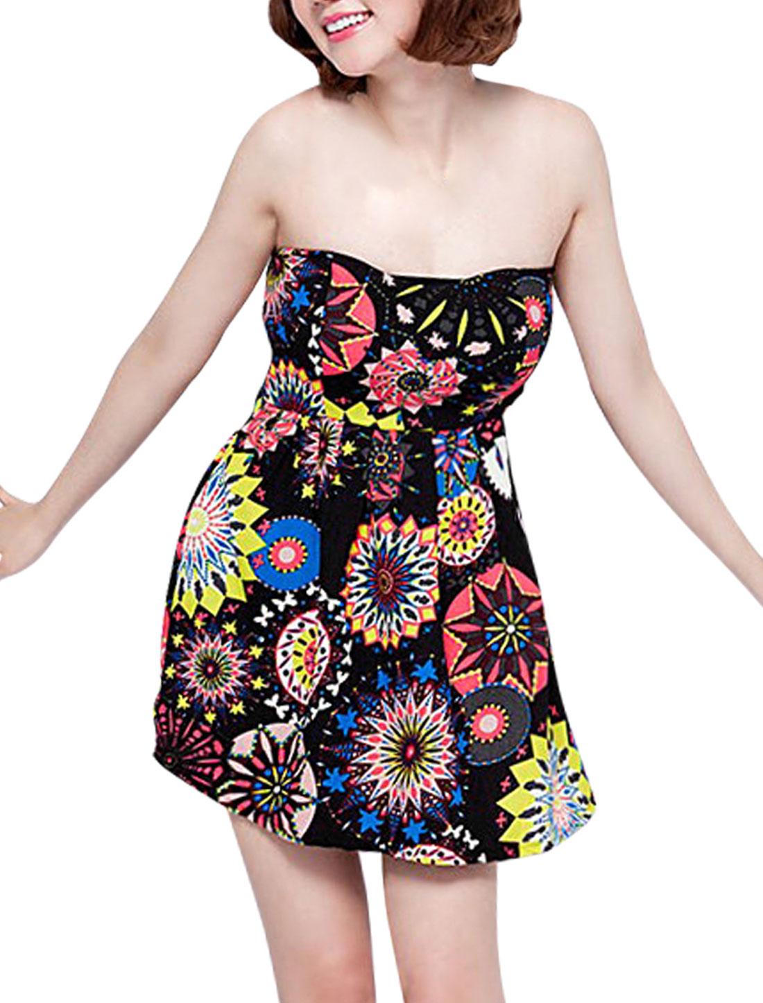Women Self Tie String Stretch Bust Sunflowers Pattern Dress Black XS