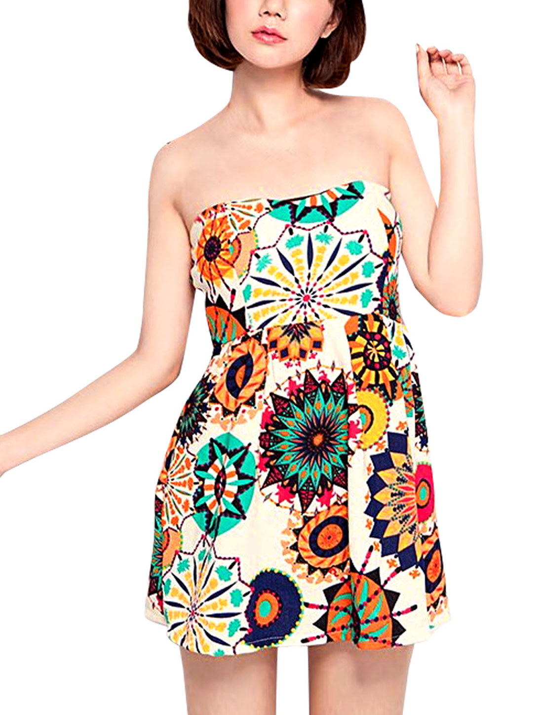 Ladies Sunflowers Pattern Zipper Side Above Knee Stretchy Dress White XS