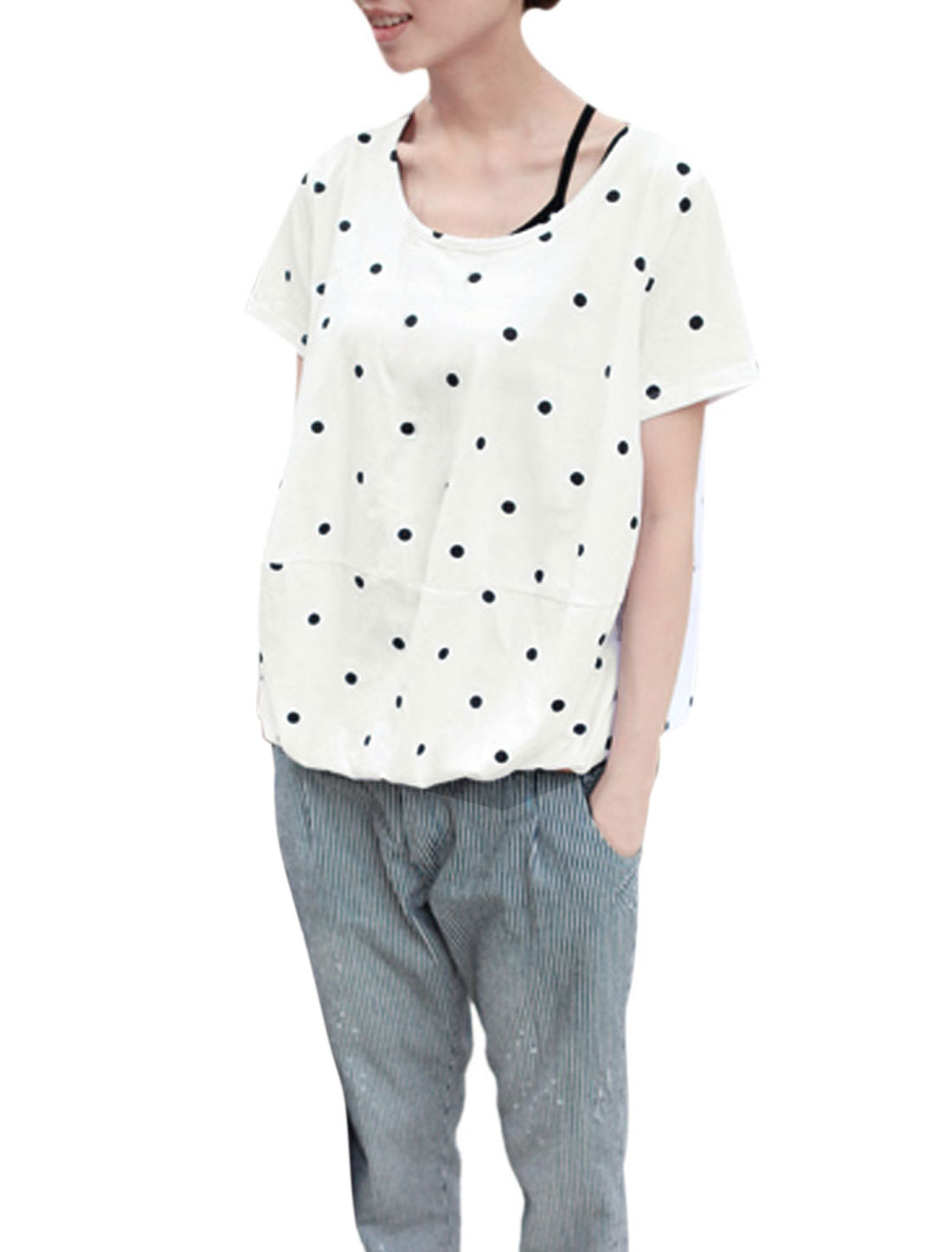 Lady Short Sleeve Dots Prints Elastic Hem White Blouse S