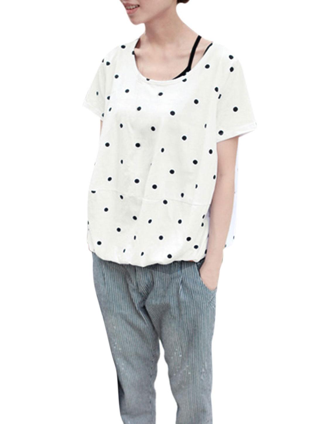 Lady Short Sleeve Dots Prints Elastic Hem White Blouse S