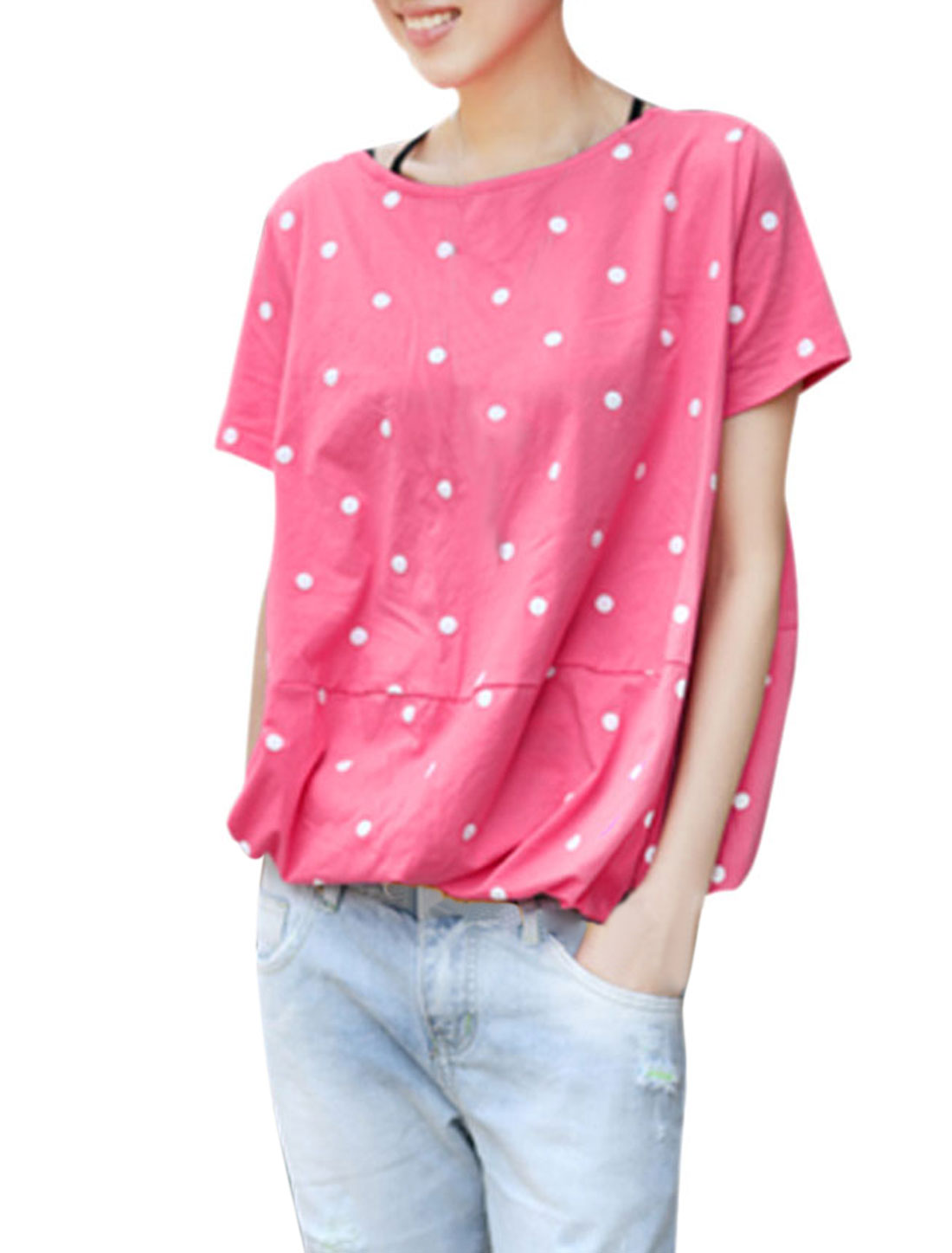 Lady Summer Scoop Neck Dotted Decor Pink Blouse S