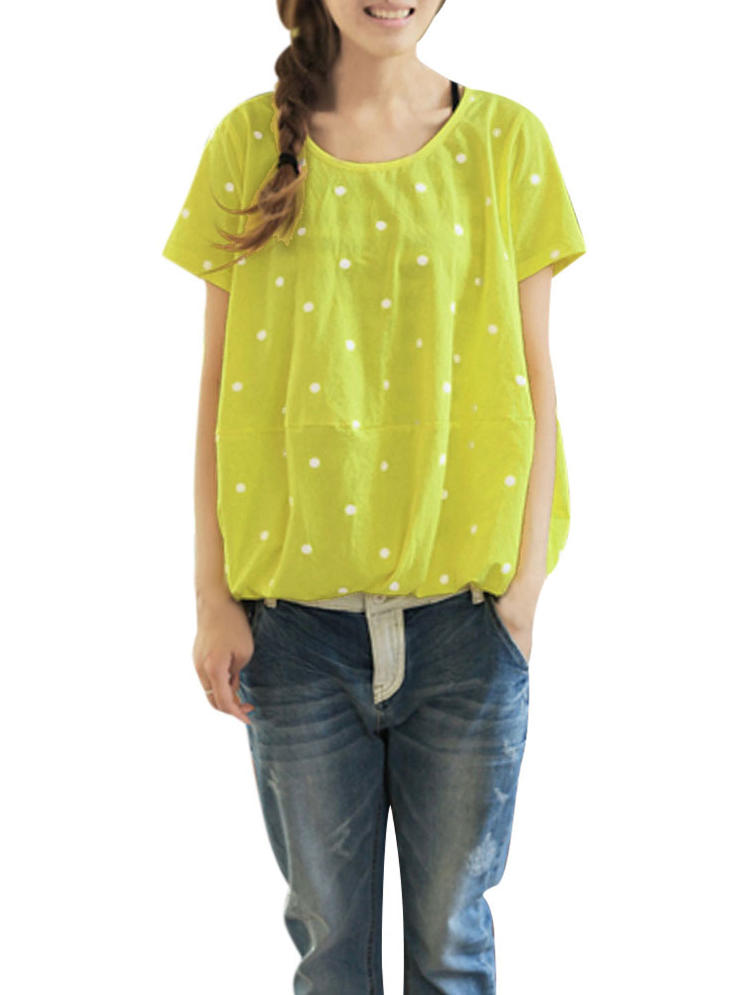 Lady Casual Short Sleeve Dots Prints Blouse Lime Yellow S