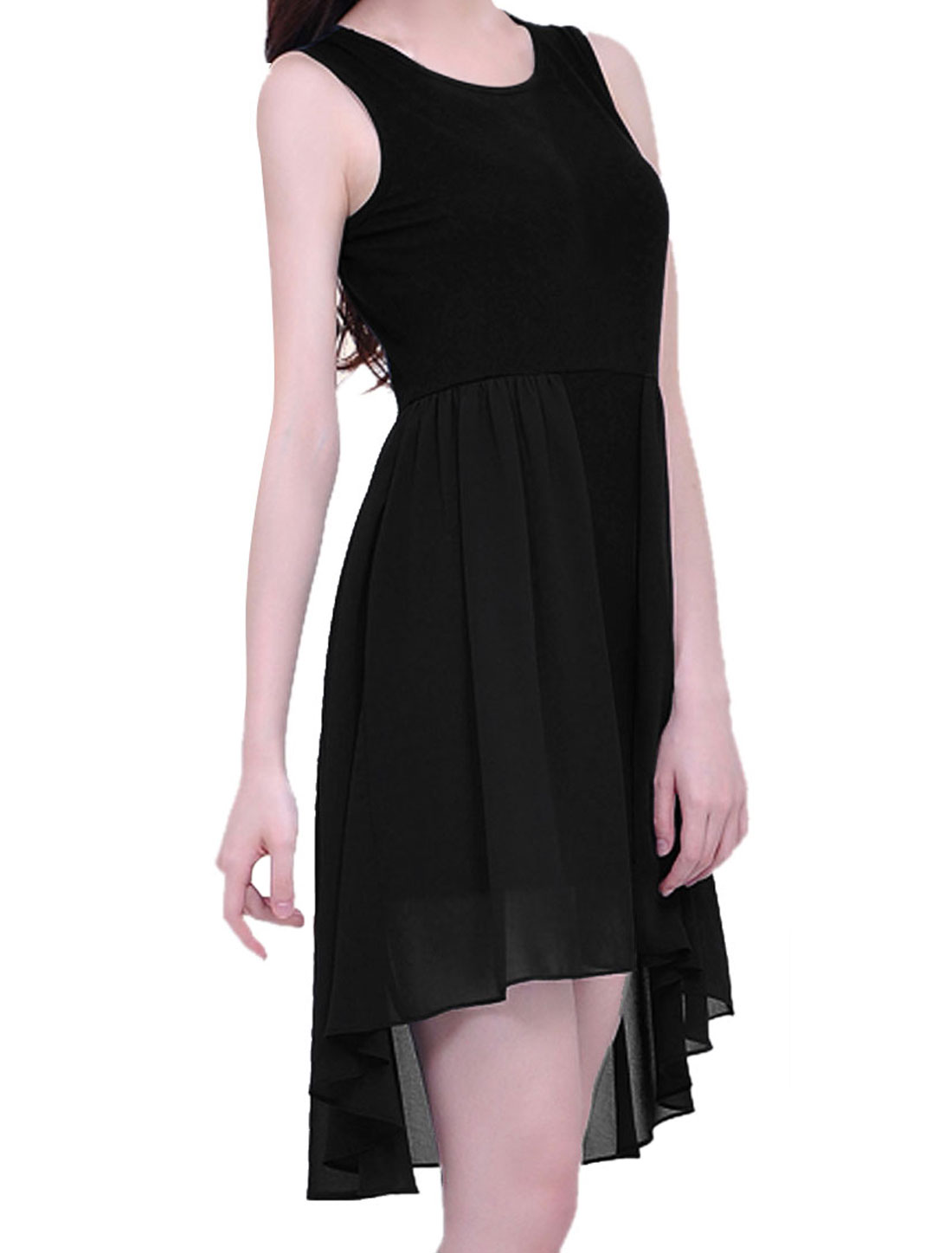 Lady Fashion Loose Irregular Hem Tunic Black Dress XS