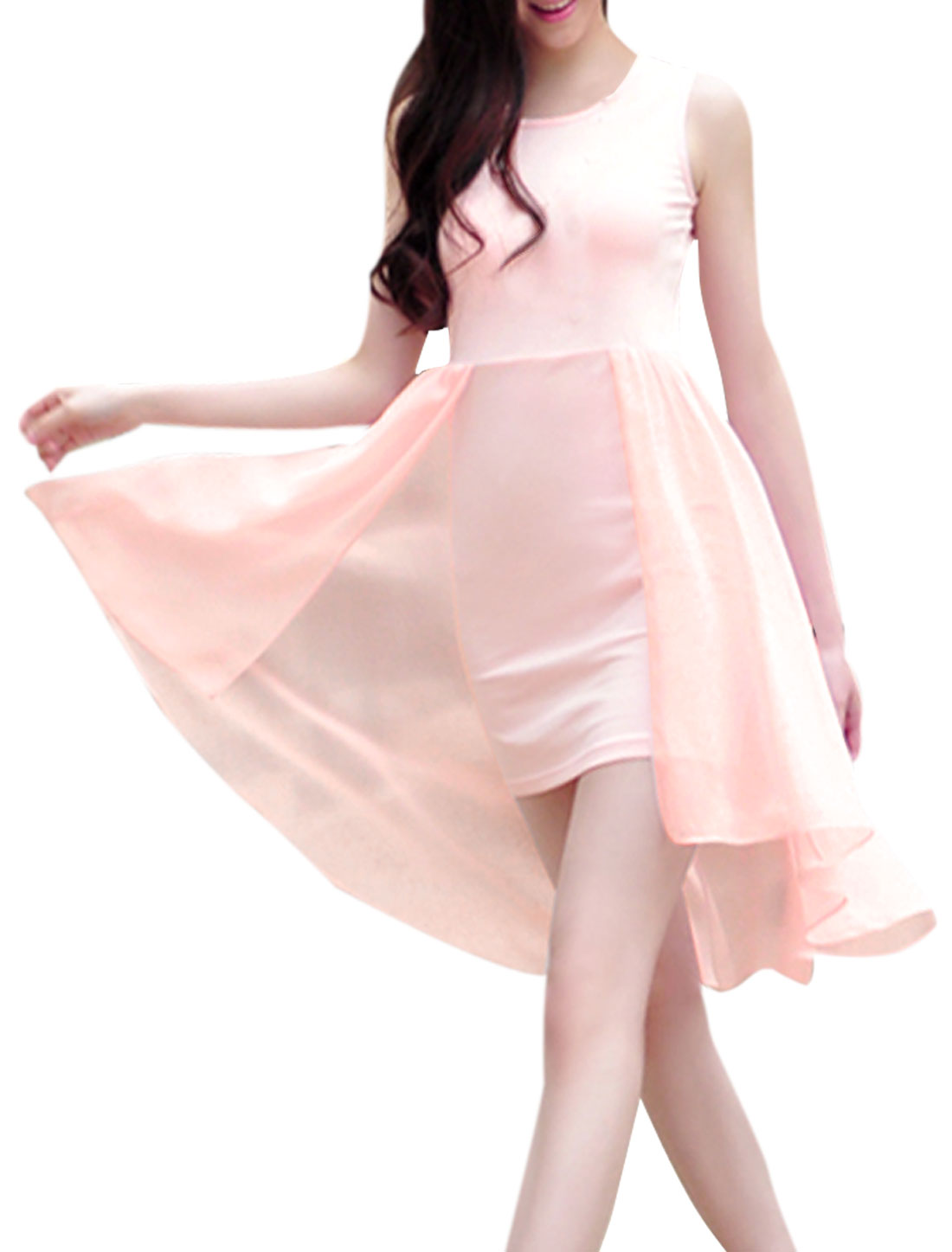Lady Chic Scoop Neck Semi-sheer Layered Light Pink Dress XS