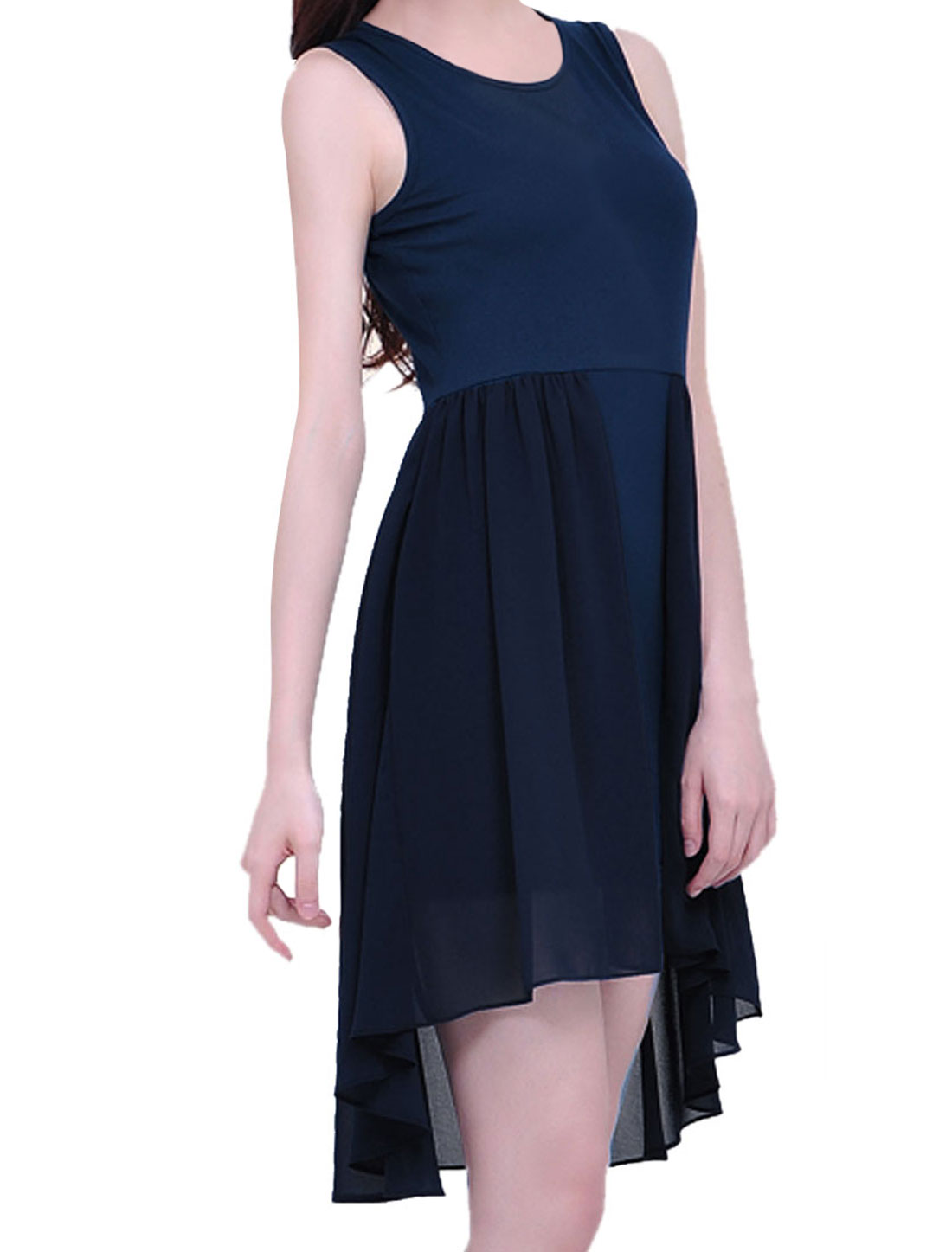 Lady Sleeveless Irregular Hem Chiffon Splice Dark Blue Dress XS