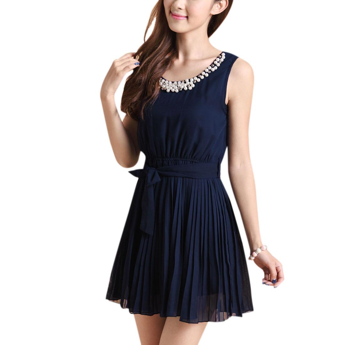 Lady Pullover Leisure Fake Pearls Decor Neckline Chiffon Dark Blue Dress XS