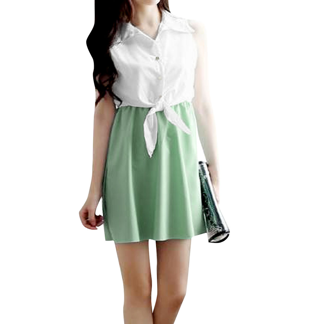 Lady Buttons Front Straped Decor Waist White Mint Green Mini Dress XS