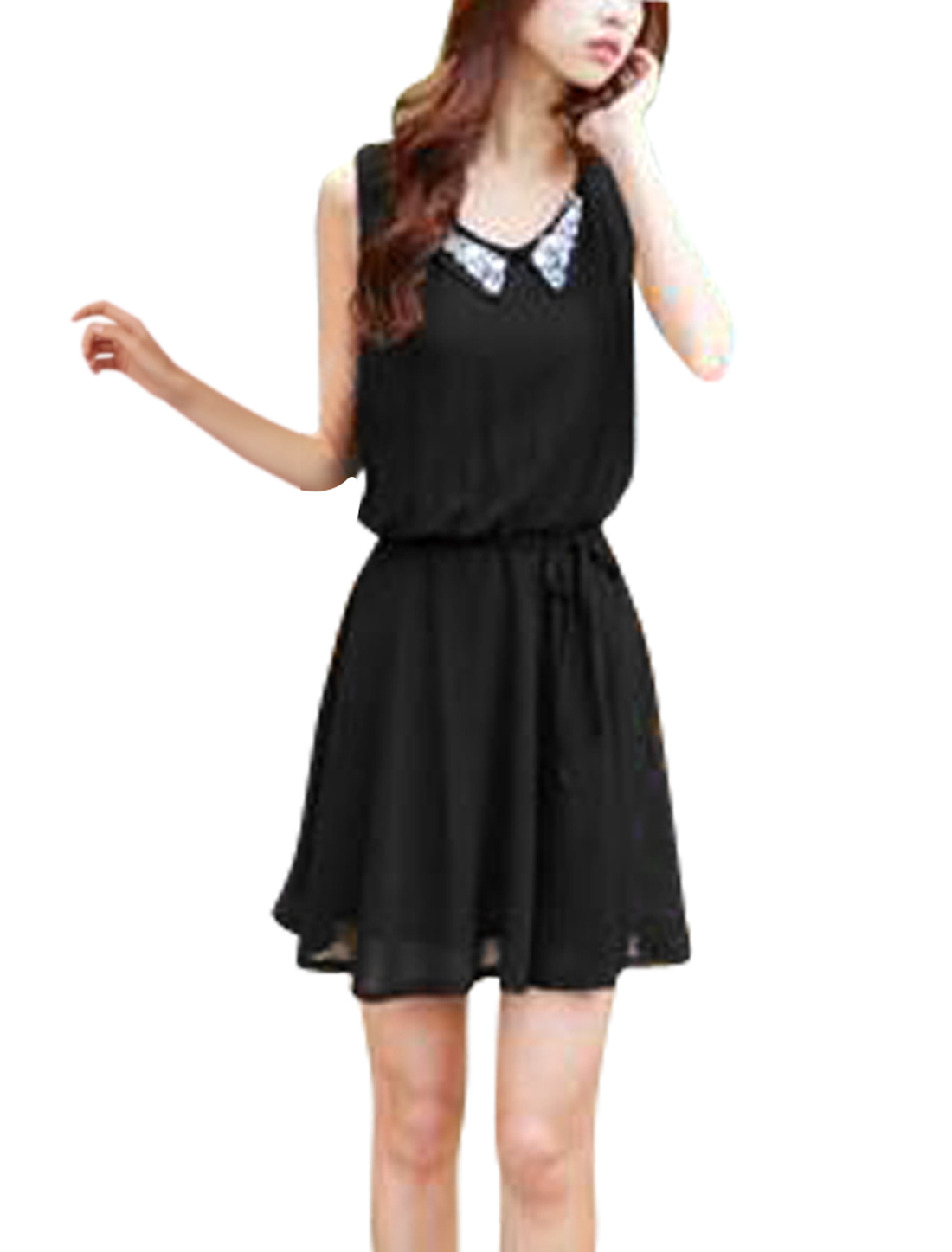 Ladies Chic Doll Collar Sleeveless Plastic Crystal Decor Black Mini Dress XS