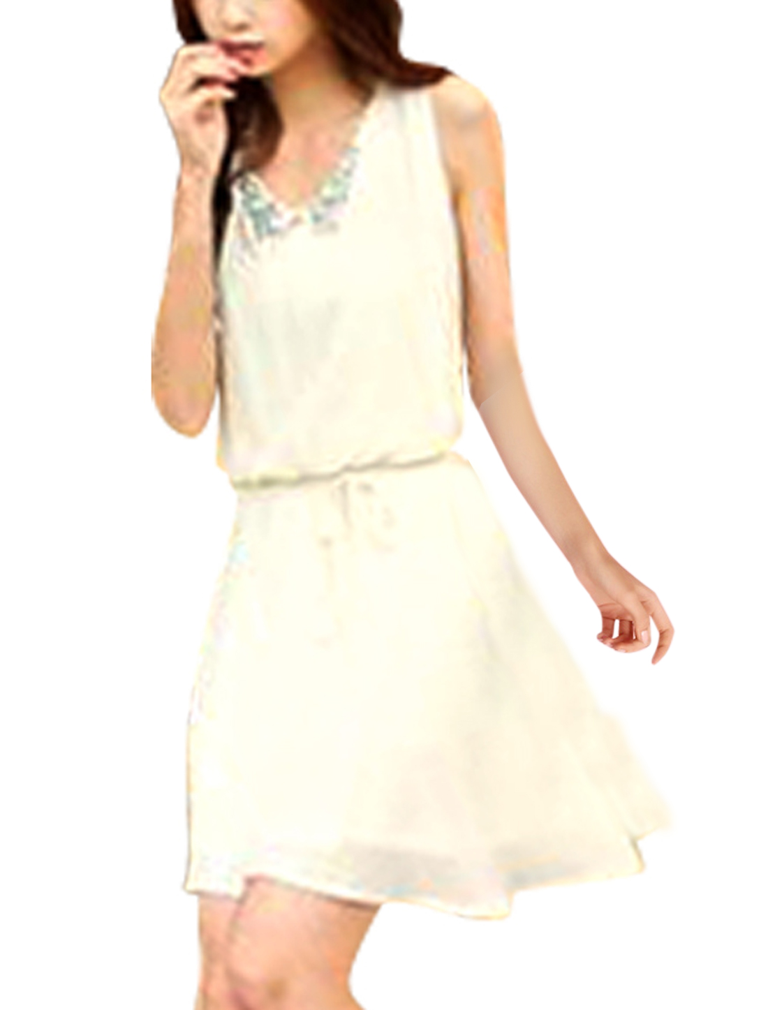 Women Peter Pan Collar Sleeveless Rhinestones Decor Beige Mini Dress XS