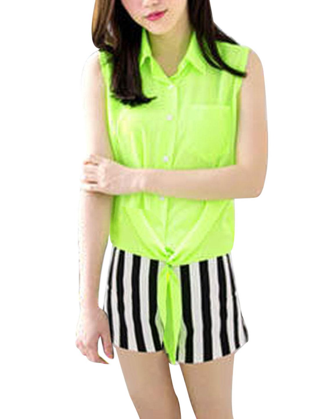 Ladies Point Collar Self Tie Hem Button Up Sleeveless Shirt Lime XS