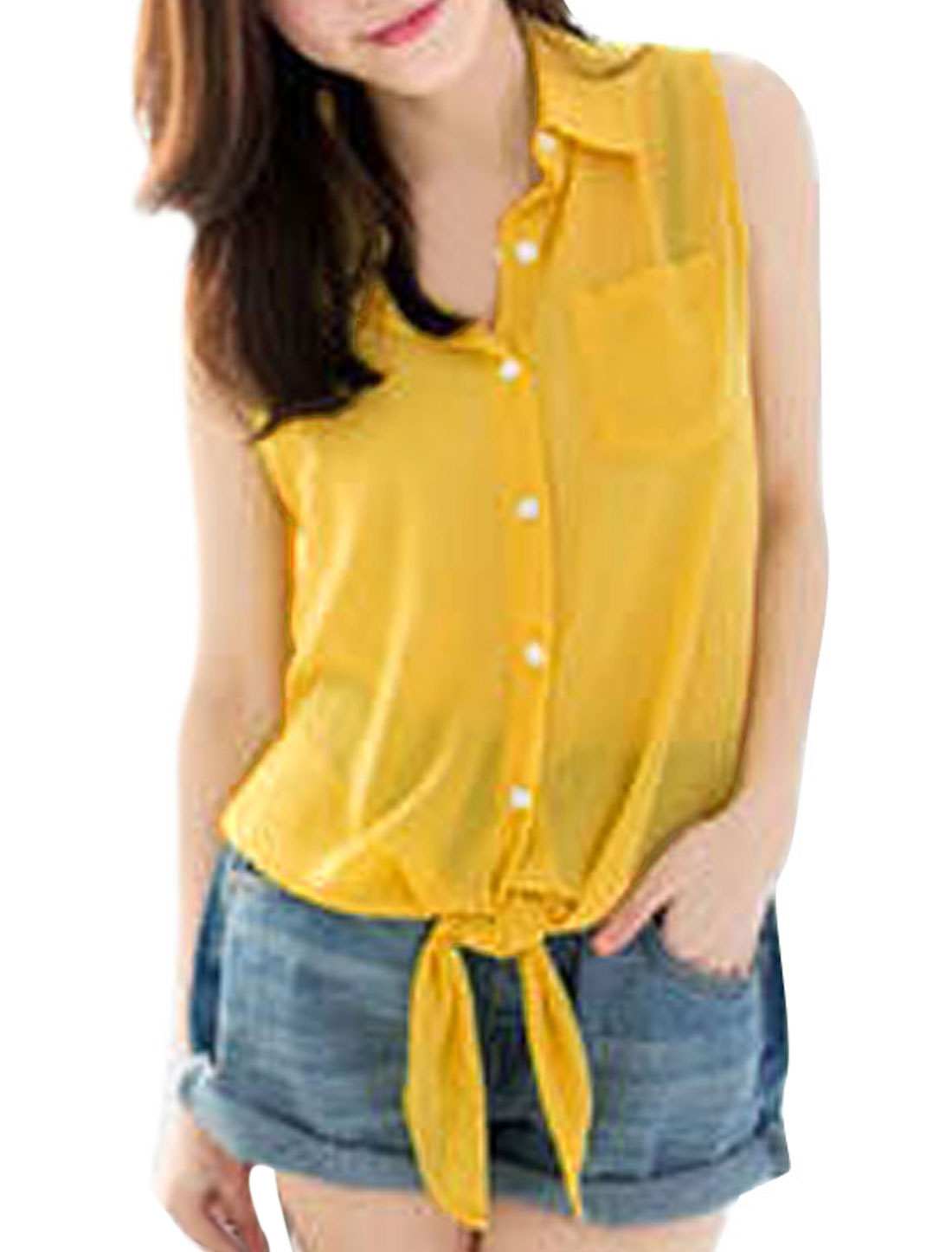 Ladies Point Collar Chiffon Buttoned Front Chic Shirt Yellow XS