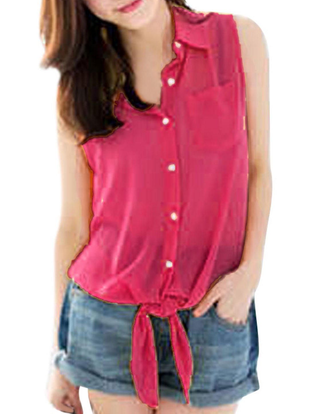 Women Sleeveless Single Breasted Chiffon Tops Blouses Dark Pink XS