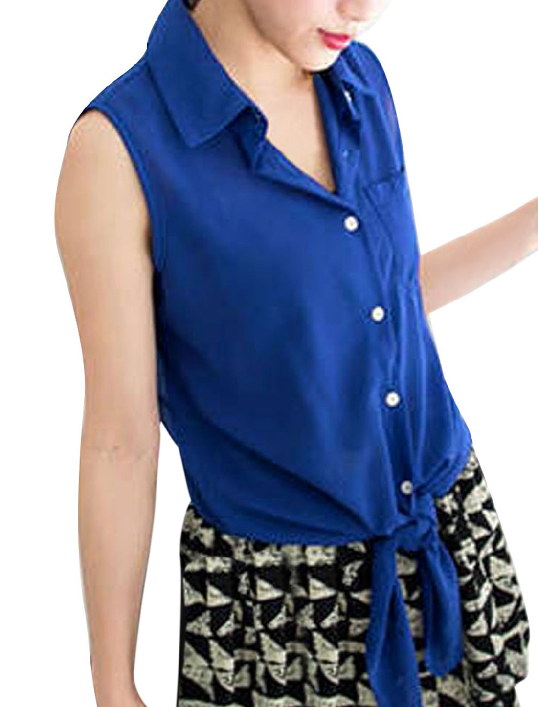 Lady Buttons Upper Sleeveless Pocket Solid Color Shirts Blue XS